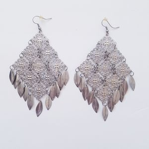 2/$30 CHANDELIER BOHO Pewter Chain-Link Earrings